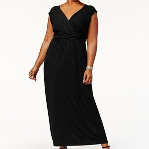 NY Collection Plus Size Ruched Empire Maxi Dress